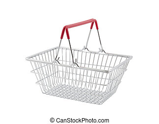 Shopping basket isolated on white background with clipping ...