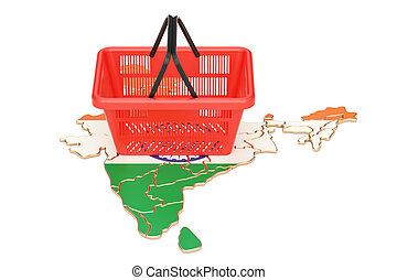 Shopping basket on Indian map, market basket or purchasing power in India concept. 3D rendering