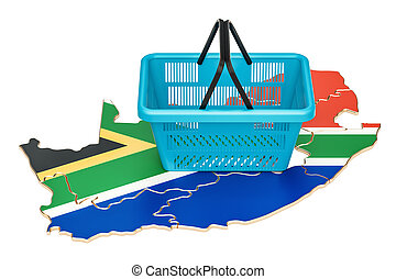 Shopping basket on South Africa map, market basket or purchasing power concept. 3D rendering