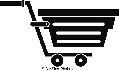 Shopping basket on wheels icon, simple style
