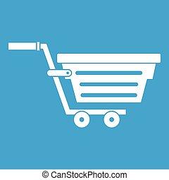 Shopping basket on wheels icon white