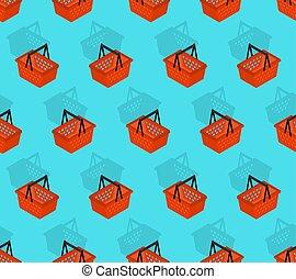Shopping basket pattern seamless. Geometric supermarket basket background