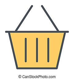 Shopping Basket Pixel Perfect Vector Thin Line Icon 48x48. Simple Minimal Pictogram