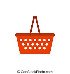Shopping basket red empty isolated on white background
