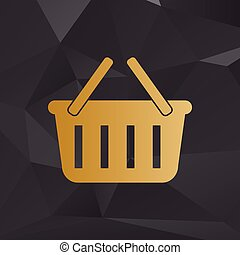 Shopping basket sign. Golden style on background with polygons.