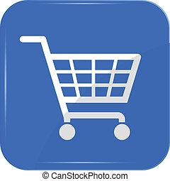 shopping basket sign on blue sign