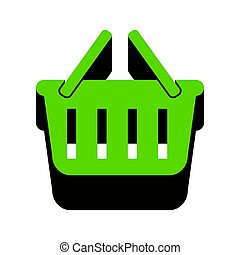Shopping basket sign. Vector. Green 3d icon with black side on w