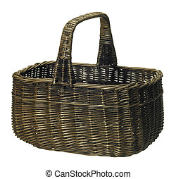 shopping basket - studio photography of a brown wickerbasket...
