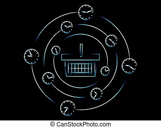 shopping basket surrounded by spinning clocks and alarms, vector
