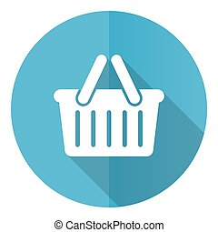 Shopping basket vector icon, flat design blue round web button isolated on white background