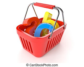 Shopping basket with abc text