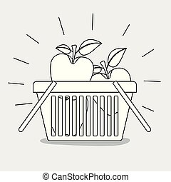 shopping basket with apples fruits monochrome silhouette