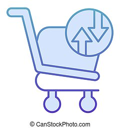Shopping basket with arrows flat icon. Shopping trolley turnover vector illustration isolated on white. Market cart exchange gradient style design, designed for web and app. Eps10.