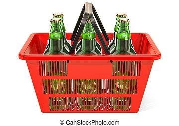 Shopping basket with beer bottles. 3D rendering