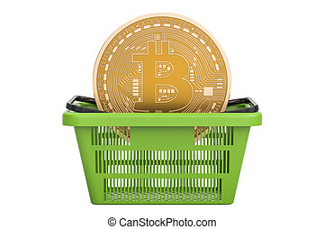 Shopping basket with bitcoin, 3D rendering