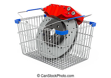 Shopping basket with car disc brake with caliper, 3D rendering