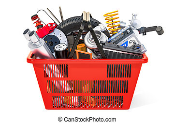 Shopping basket with car parts, 3D rendering