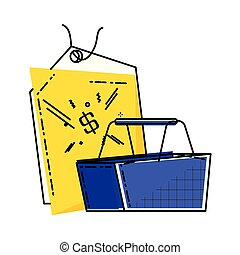 shopping basket with commercial tag hanging