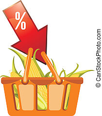 Shopping basket with corncobs