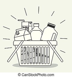 shopping basket with drinks monochrome silhouette