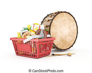 shopping basket with drum