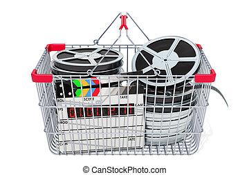 Shopping basket with film reels, 3D rendering