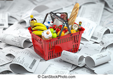 Shopping basket with foods on the pile of receipt. ...