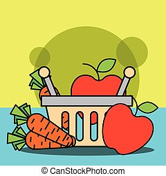 shopping basket with fruits and vegetables carrot apple