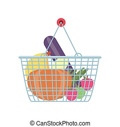 shopping basket with fruits and vegetables on white background