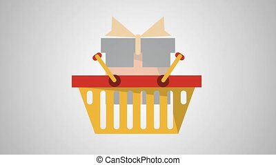 Shopping basket with gift box HD animation - Shopping basket...