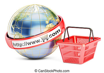 Shopping basket with globe, 3D rendering
