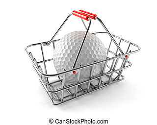 Shopping basket with golf ball