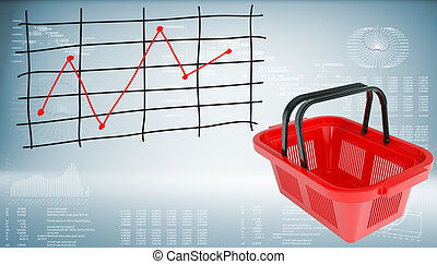Shopping basket with graph of price changes. Graphs and...