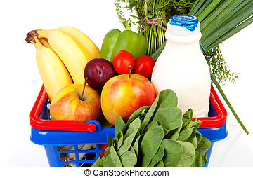 Shopping basket with grocery