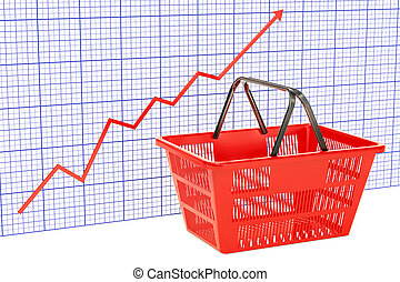 Shopping basket with growing chart, 3D rendering