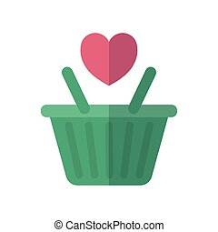 shopping basket with heart icon, flat style