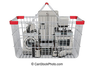 Shopping basket with home appliances, 3D rendering