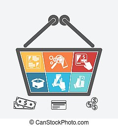 Shopping basket with icons of online e-commerce