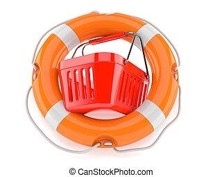 Shopping basket with life buoy