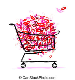 Shopping basket with lips for your design