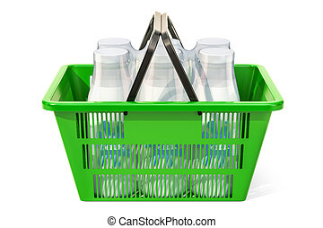 Shopping basket with milk bottles. 3D rendering
