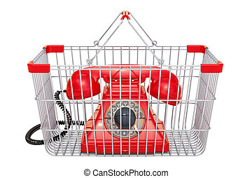 Shopping basket with phone, 3d rendering