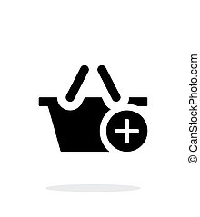 Shopping basket with plus simple icon on white background.
