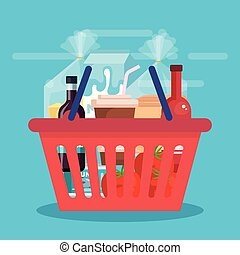 shopping basket with products