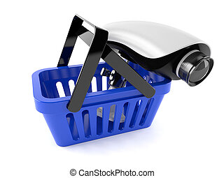 Shopping basket with secure camera