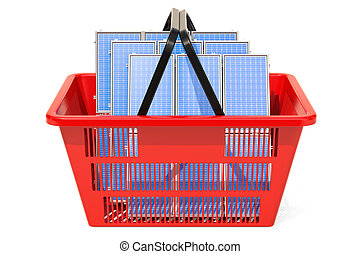 Shopping basket with solar panels, 3D rendering