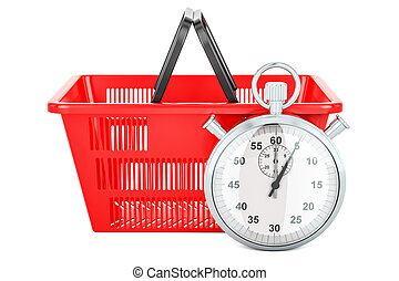 Shopping basket with stopwatch, 3d rendering