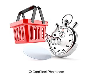 Shopping basket with stopwatch