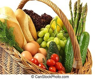 Shopping basket with vegetables, bread and fruits