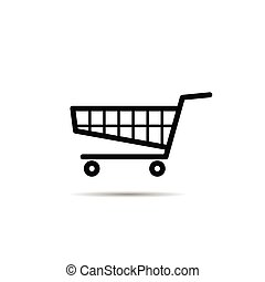 shopping basket with wheel icon
